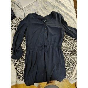 Navy Blue Gap Long Sleeved Shirtdress with Ruching